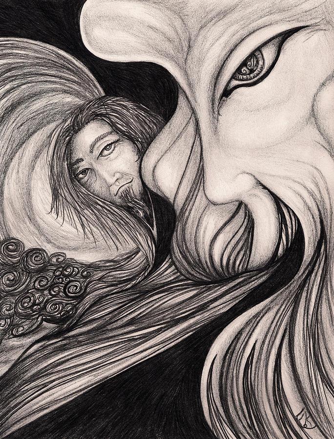Face Drawing - Wind Swept by Franklin Kielar