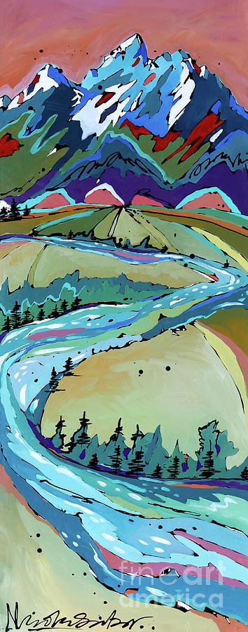 Tetons Painting - Winding by Nicole Gaitan