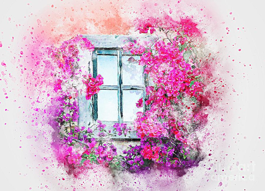 Window Flowers Nature Art Abstract Watercolor Painting. Mixed Media