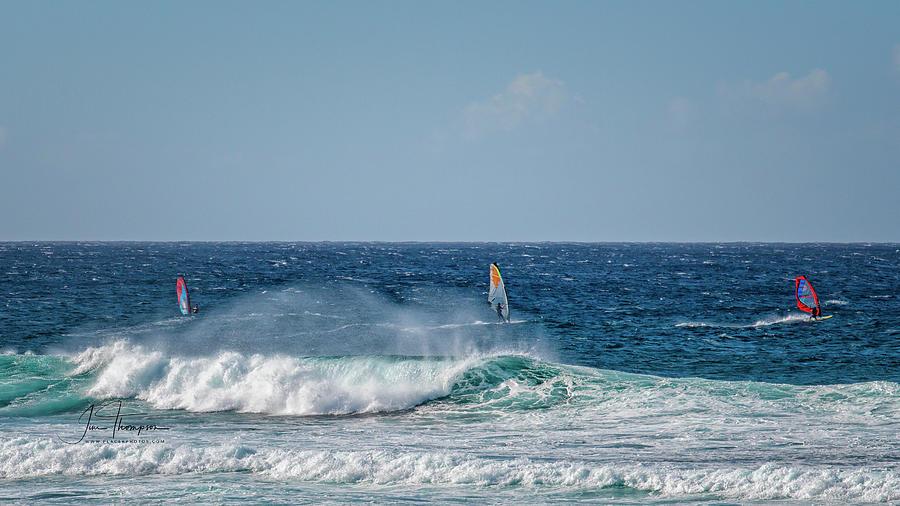 Hawaii Photograph - Windsurfers by Jim Thompson