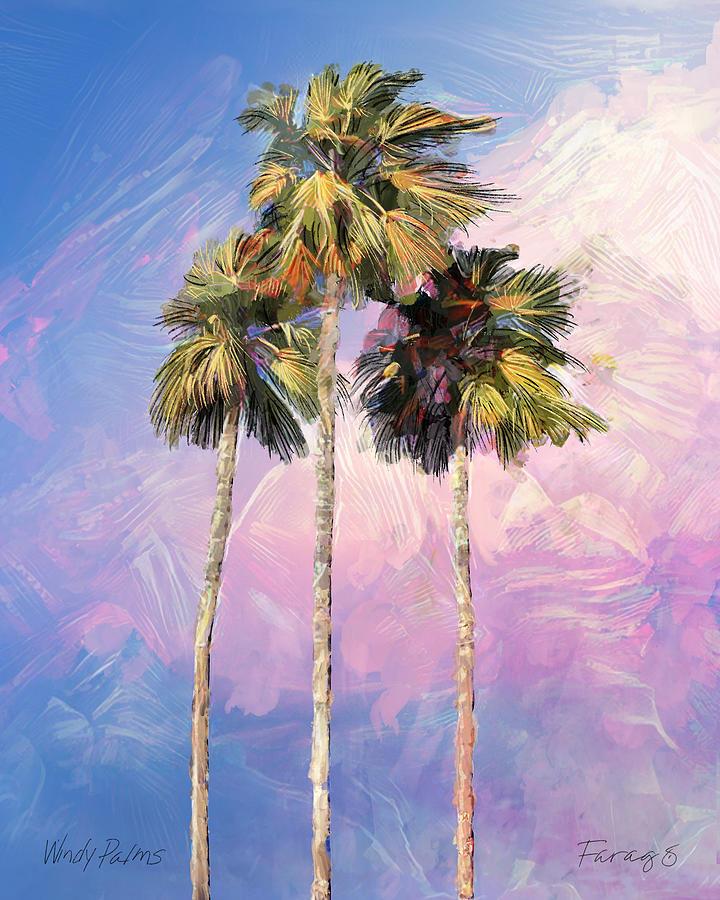 Palm Painting - Windy Palms by Peter Farago