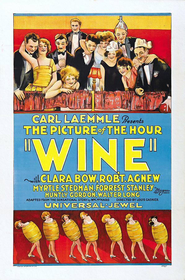 Clara Bow Painting - Wine, Clara Bow Silent Film Poster 1924 by Universal