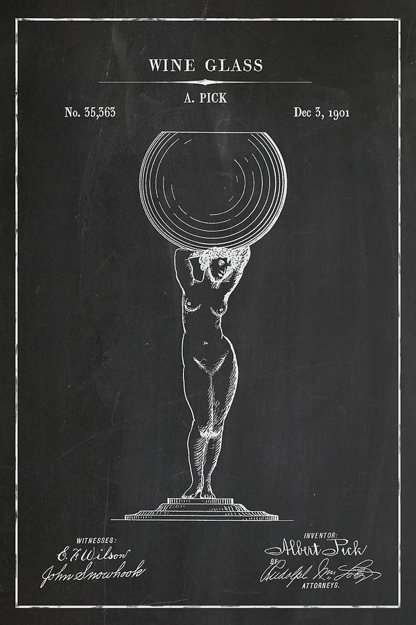 Wine Glass Blueprint Patent in Chalk Wine Patent Art by Florian Rodarte