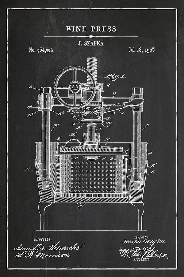 Wine Press Blueprint Patent in Chalk Wine Patent Art by Florian Rodarte