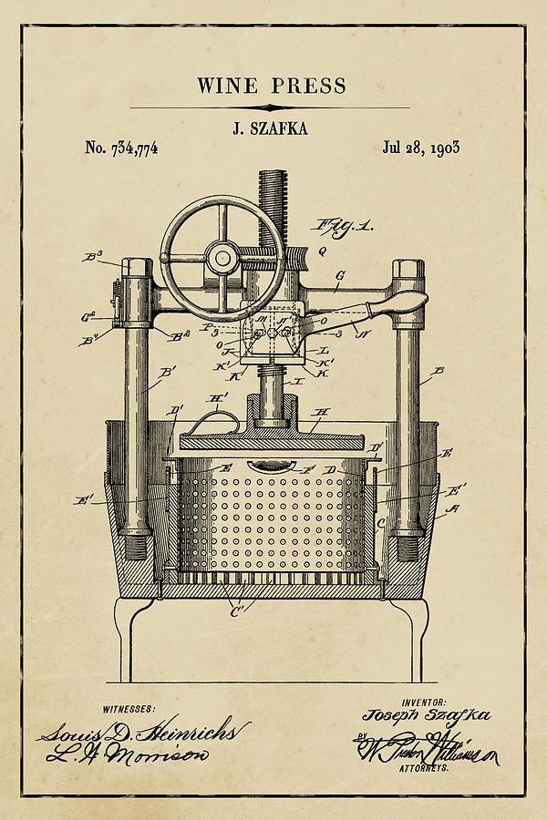 Wine Press Blueprint Patent on Aged Paper Wine Patent Art by Florian Rodarte