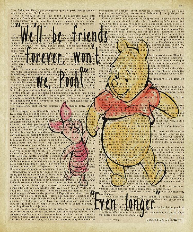 Winnie The Pooh Digital Art - Winnie The Pooh Friends For Ever  by Trindira A