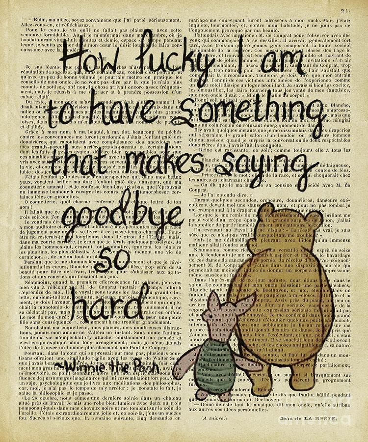 Winnie The Pooh Digital Art - winnie the pooh how lucky I am  by Trindira A