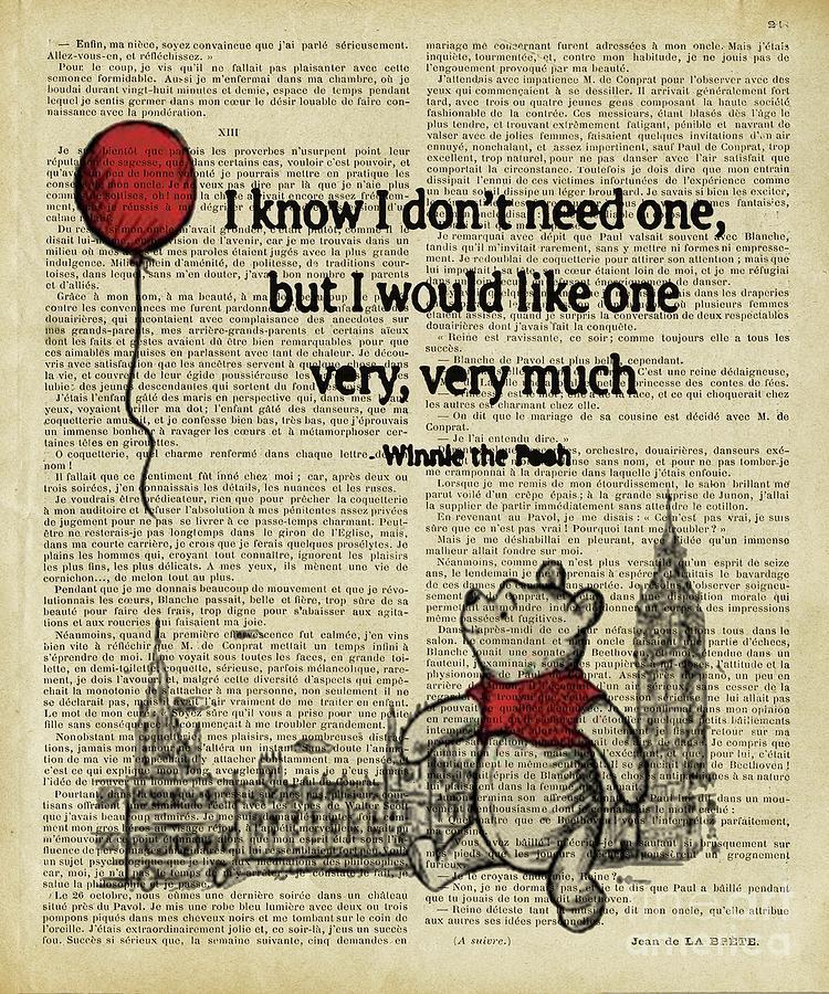 Winnie The Pooh Digital Art - winnie the pooh I dont need one  by Trindira A