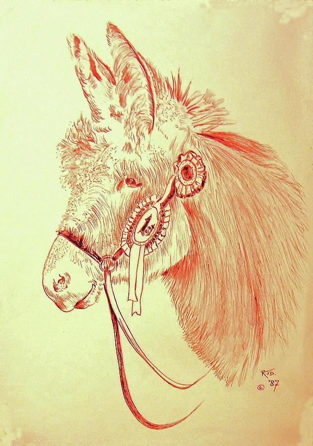 Winning Donkey With Rosettes Painting