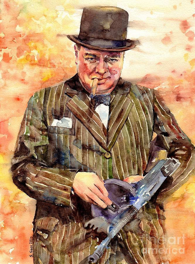 Winston Churchill Painting - Winston Churchill With A Tommy Gun by Suzann Sines