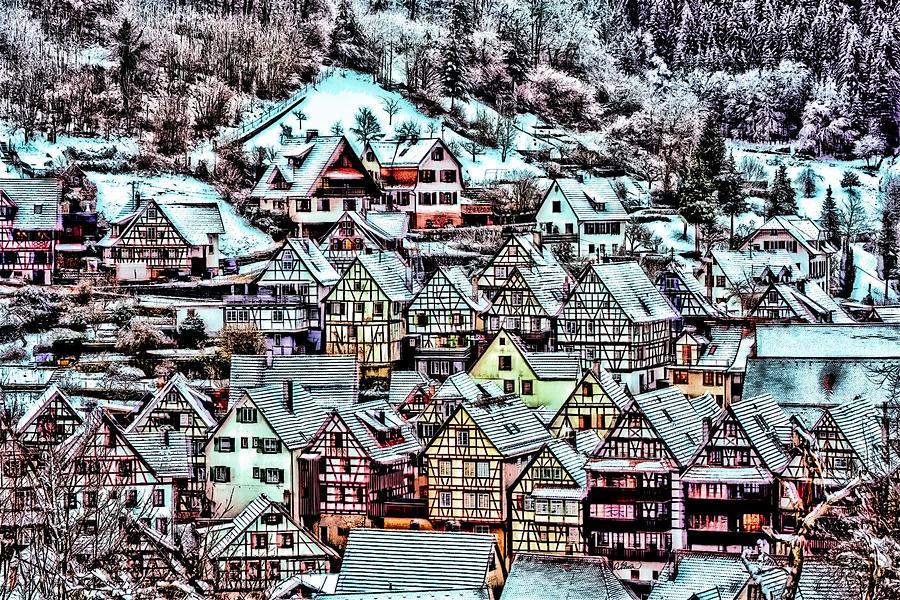 Landscape Painting - Winter Arrives in Schiltach Germany - DWP3051905 by Dean Wittle