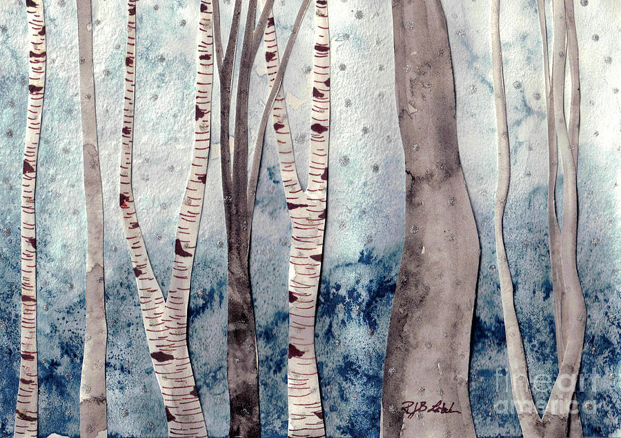 Winter Birch Trees Painting
