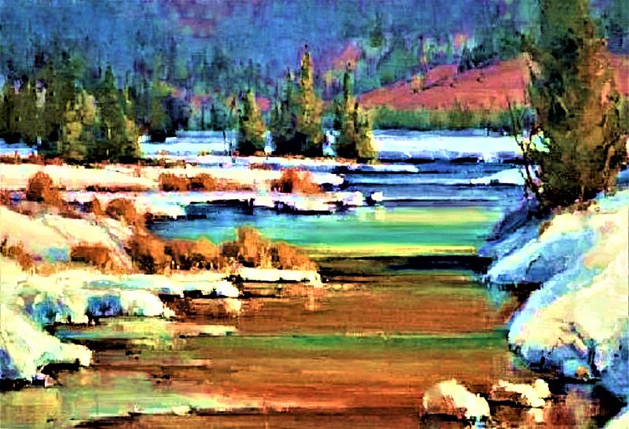 Winter Color Along The Yellowstone Painting by Joseph Barani