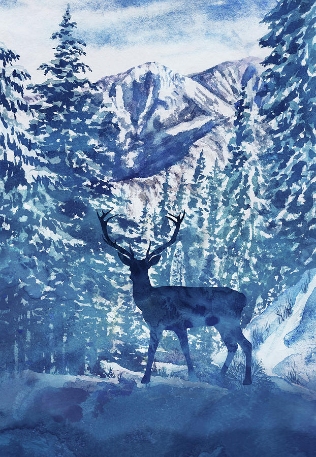 winter deer buck watercolor pine trees forest landscape painting by irina sztukowski winter deer buck watercolor pine trees forest landscape by irina sztukowski