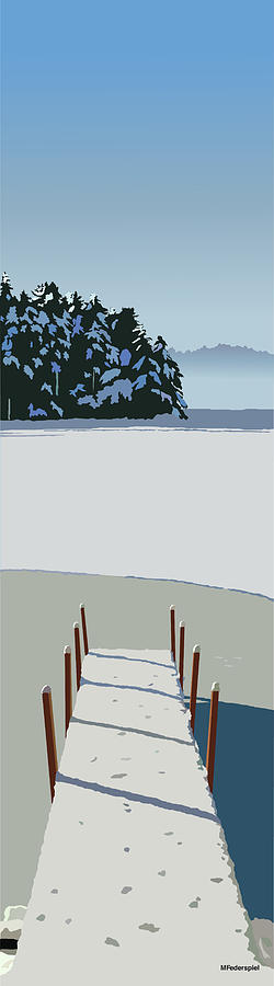 Lake Digital Art - Winter Dock by Marian Federspiel