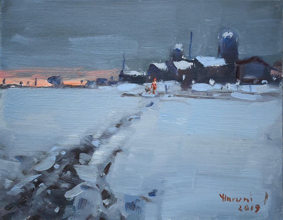 Farm Painting - Winter Evening At The Farm by Ylli Haruni