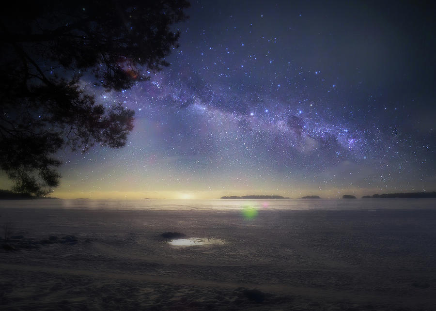 Winter Evening With A Starry Sky Photograph