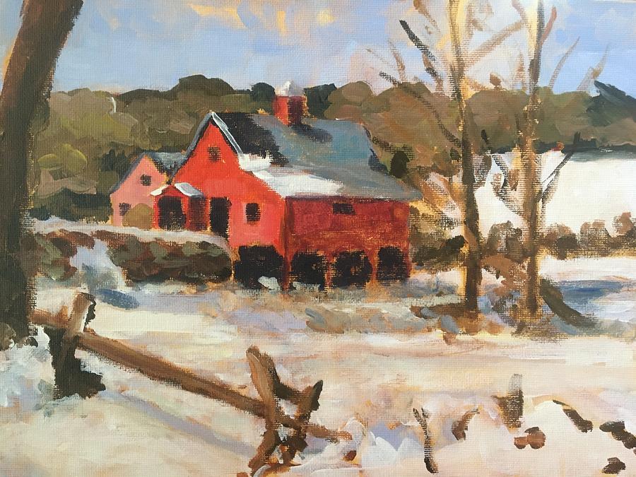 Winter Farm Painting