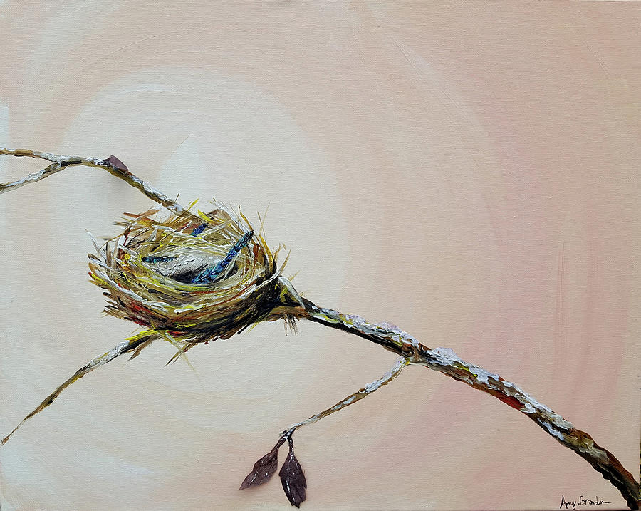 Feather Painting - Winter Feather Nest by Amy Brandum