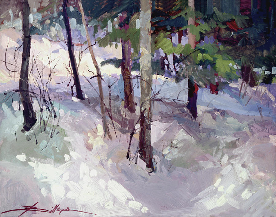 Landscape Painting - Winter Garden Plein Air by Betty Jean Billups