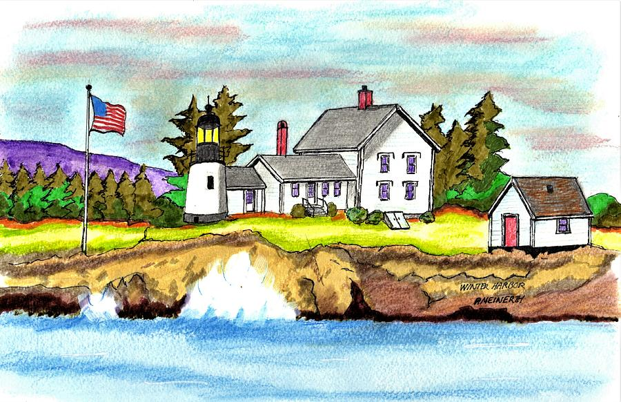 Winter Harbor Lighthouse Drawing