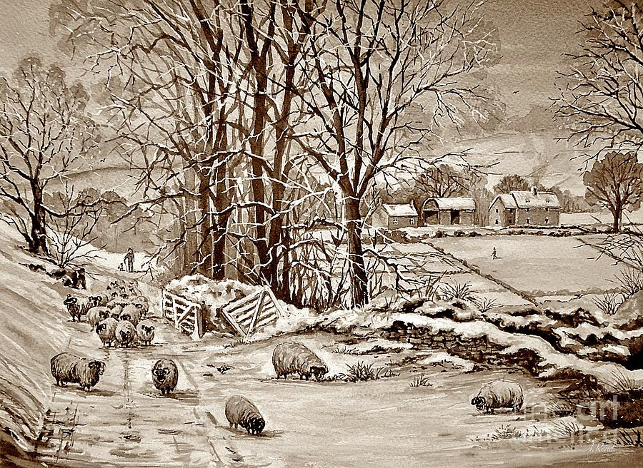 Winter In The Ribble Valley Sepia Painting