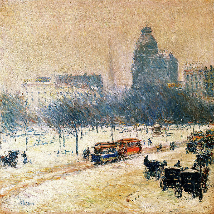 Frederick Childe Hassam Painting - Winter In Union Square - Digital Remastered Edition by Frederick Childe Hassam
