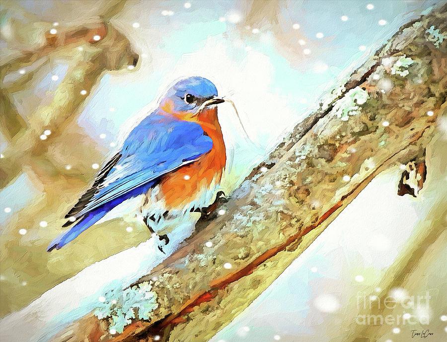 Bluebird Digital Art - Winter Nesting by Tina LeCour