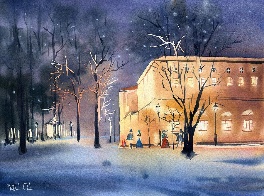 Winter Night at Pavlovsk Palace by Dora Hathazi Mendes