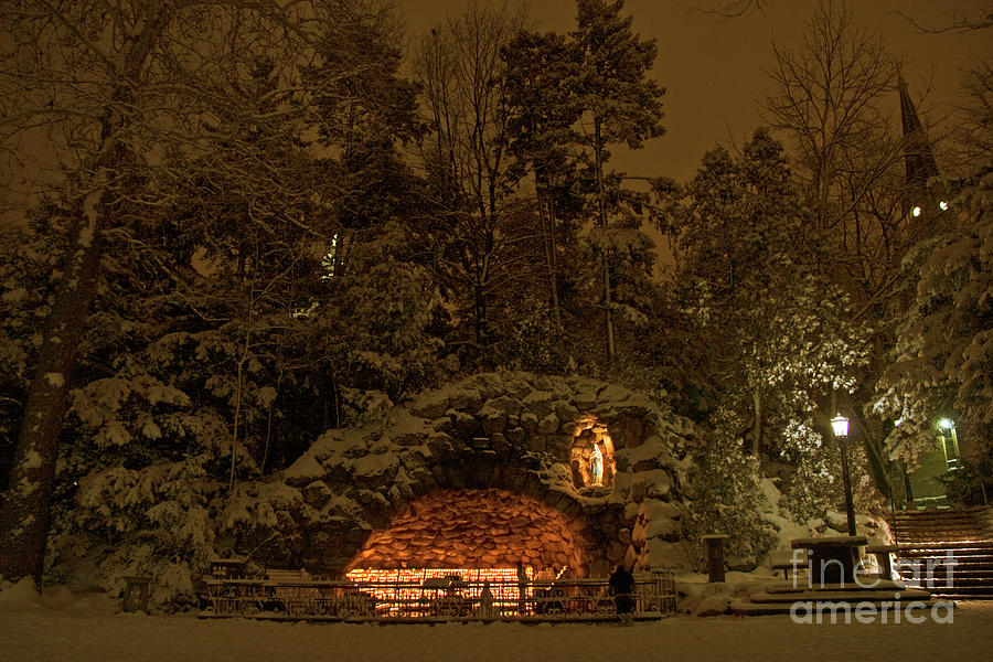 Winter Night Prayer At Notre Dame Grotto Photograph