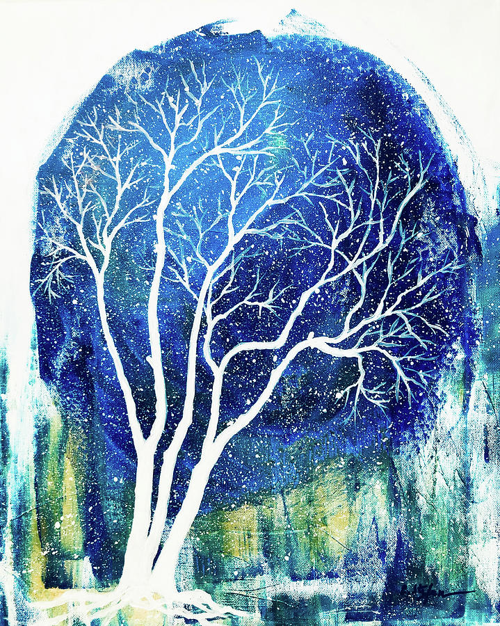 Winter night with tree by Cristina Stefan