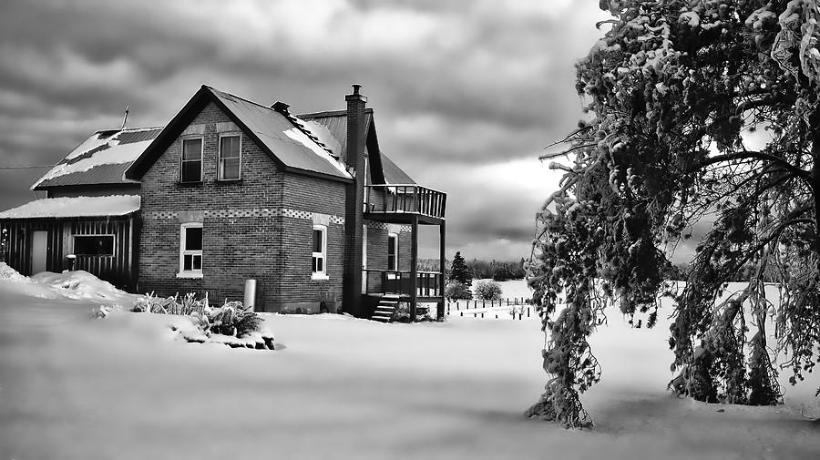 Winter on the Farm in Black and White by Bryan Smith