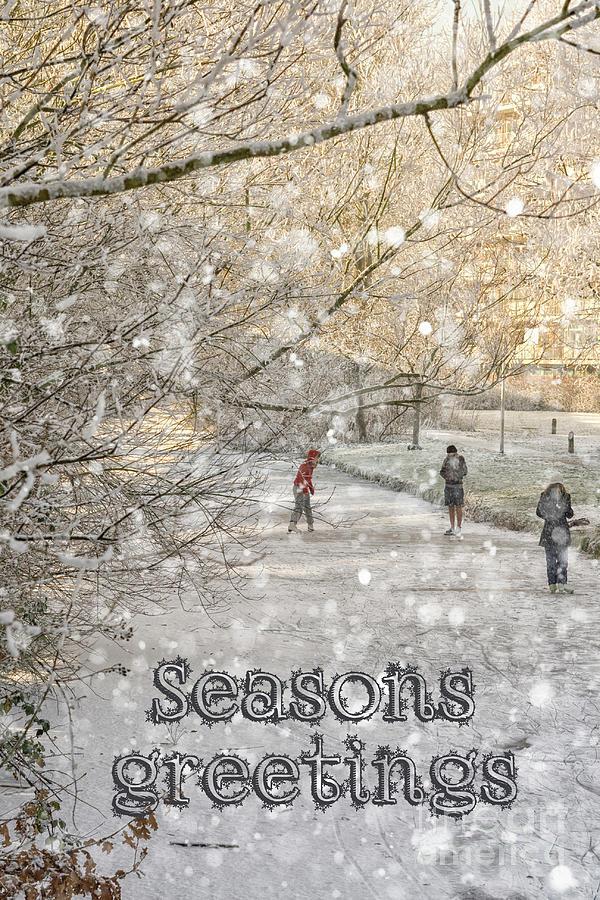 Winter pleasures greeting card by Patricia Hofmeester