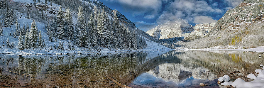Maroon Bells Colorado In Winter Panorama Photograph