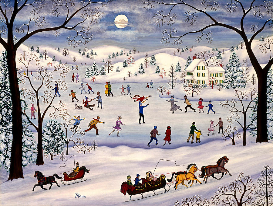 Winter Landscape Painting - Winter Skating by Linda Mears