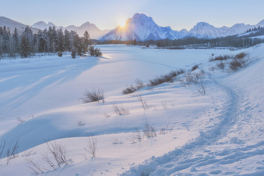 Winter Snowshoe Sunset Photograph