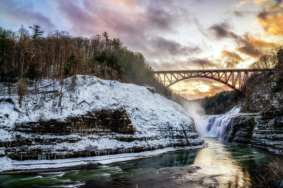 Winter Sunset At Upper Falls by Mark Papke