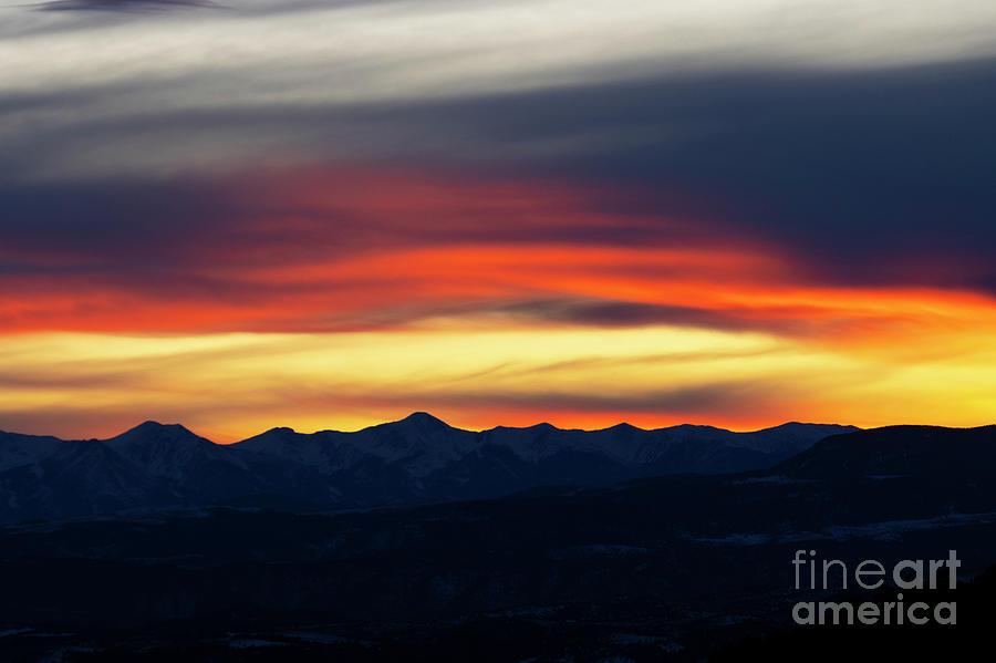 Winter Sunset on the Sangre de Cristo Mountains by Steve Krull