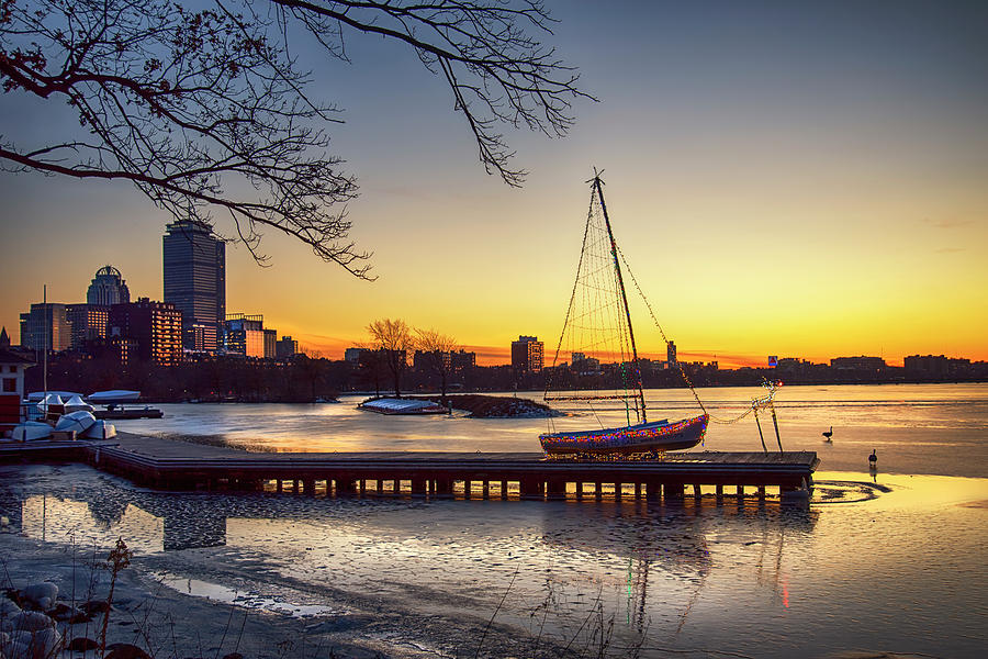 Winter Sunset Over Boston - Charles River by Joann Vitali