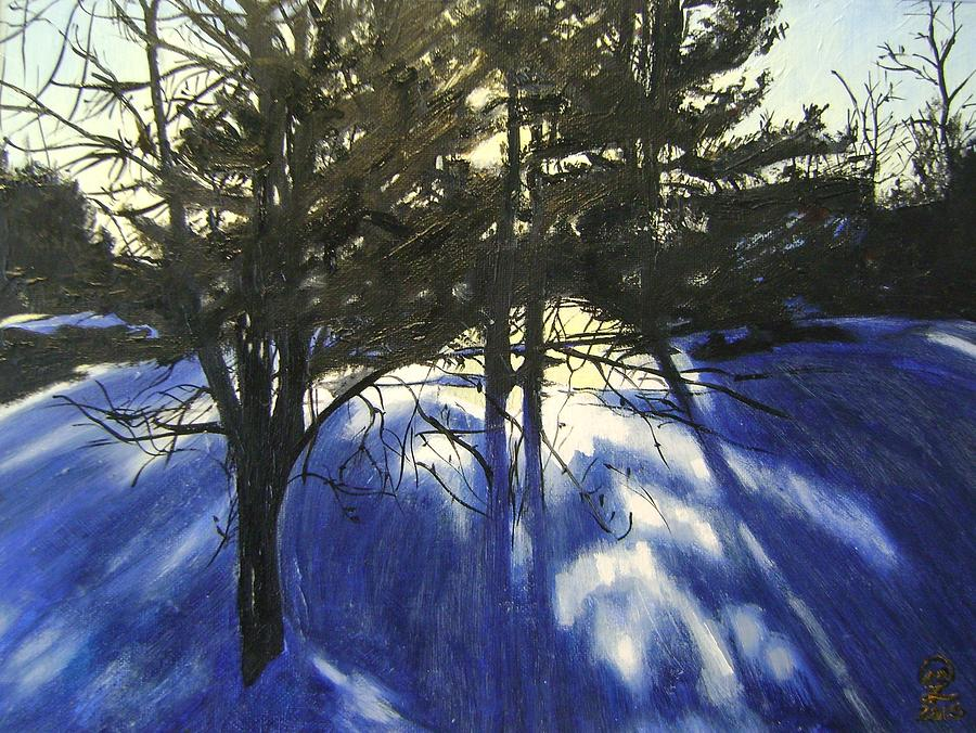 Snow Painting - Winter Sunset by Therese Legere