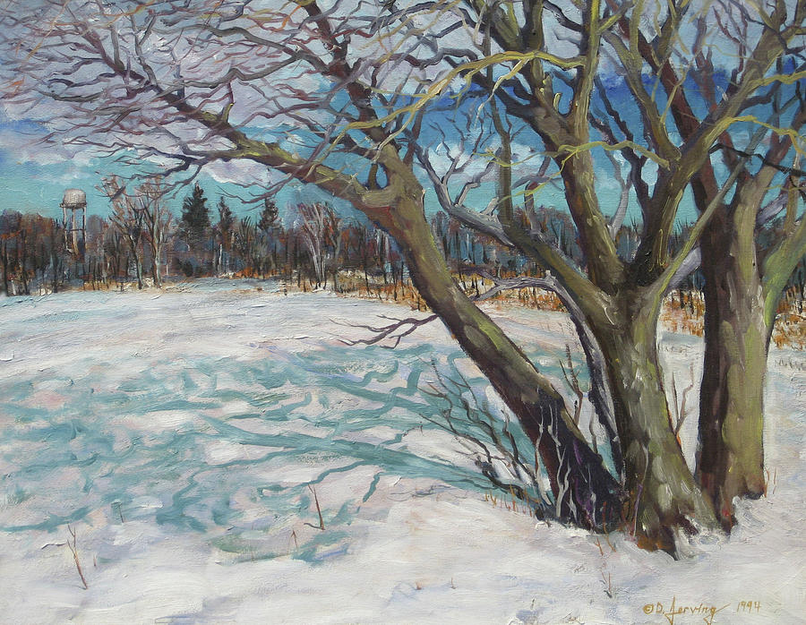 Winter Trees 2 - Original oil 28x22 Painting by Doug Jerving