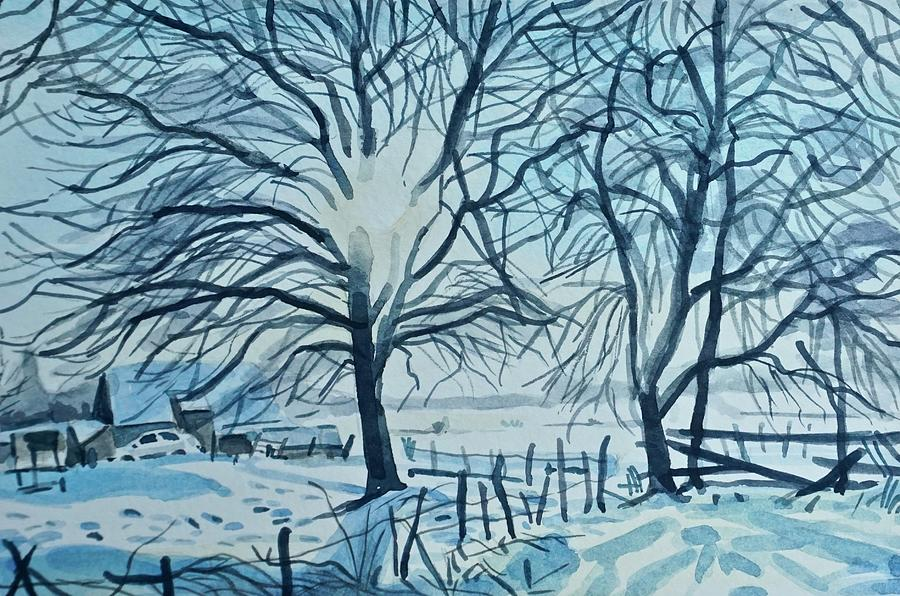 Winter Trees In Snow Painting