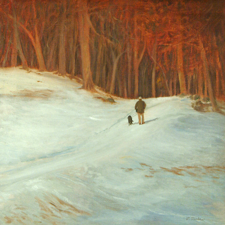 Landscape Painting - Winter Walk with Dog by Phyllis Tarlow