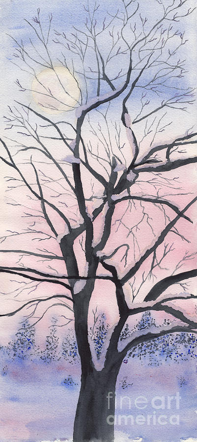 Winter Walnut Tree With Full Moon Painting