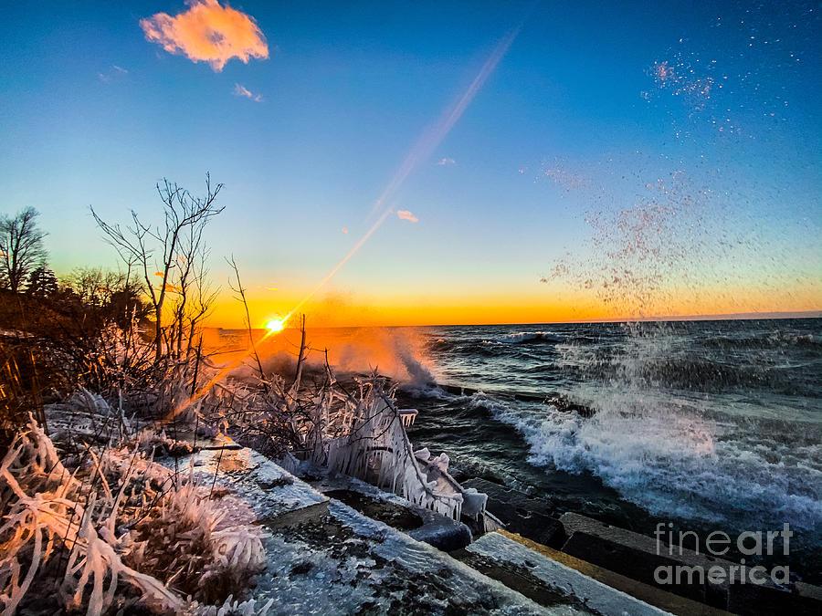 Winter Waves Crashing Photograph