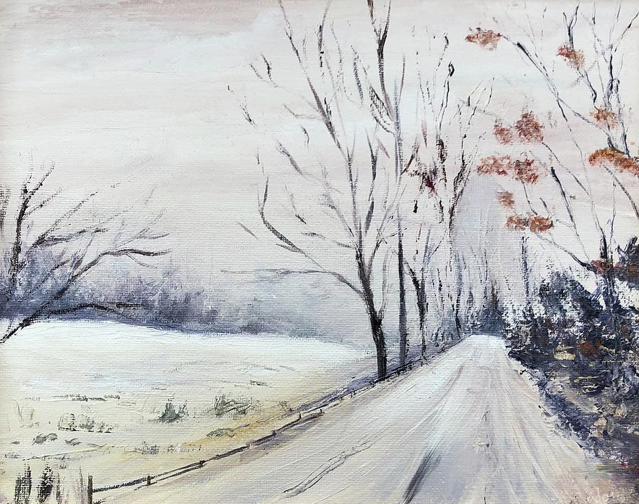Wintry Road Painting by Rachel Barlow