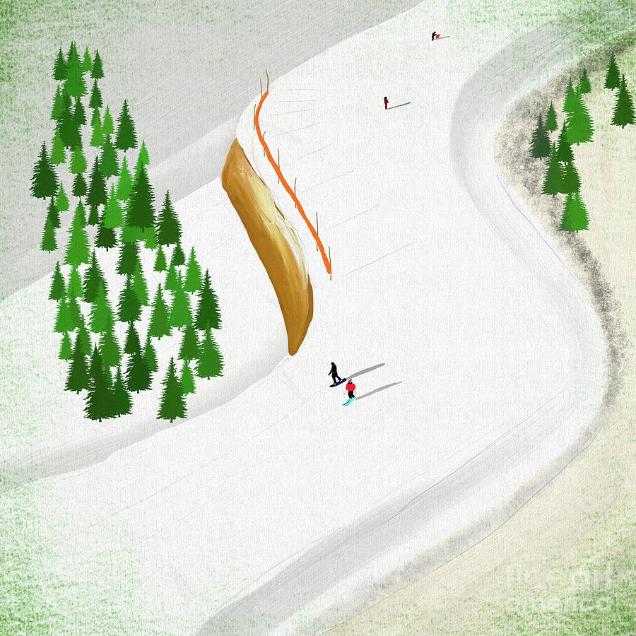 Wipe Out On The Piste Digital Art
