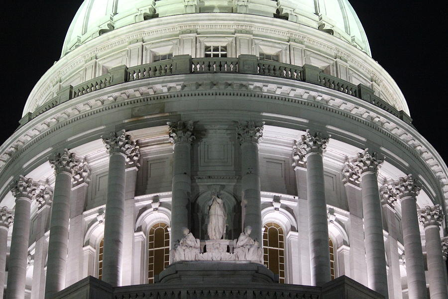 Wisconsin Capitol Photograph - Wisconsin Capitol Dome At Night by Callen Harty
