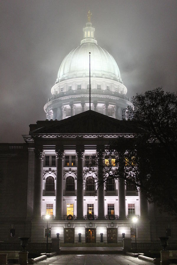 Wisconsin Capitol on a Foggy Night by Callen Harty