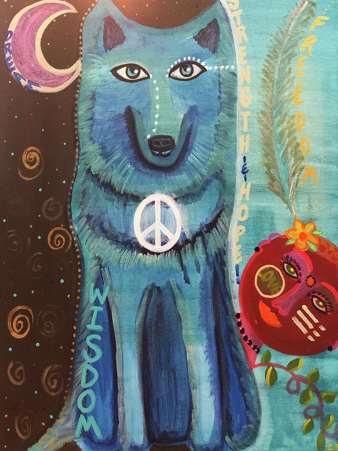 Wisdom Painting - Wise Moon Wolf by Lori Spielman